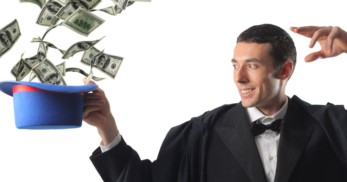 Image of a magician with money coming out of a hat.